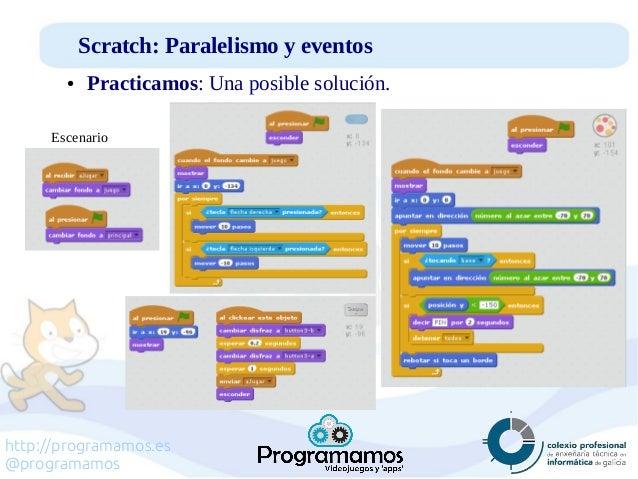 http://programamos.es @programamos Scratch: Paralelismo y eventos ● Practicamos: Una posible solución. Escenario
