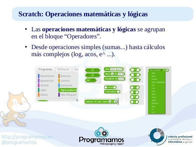 http://programamos.es @programamos Scratch: Operaciones matemáticas y lógicas ● Las operaciones matemáticas y lógicas se a...