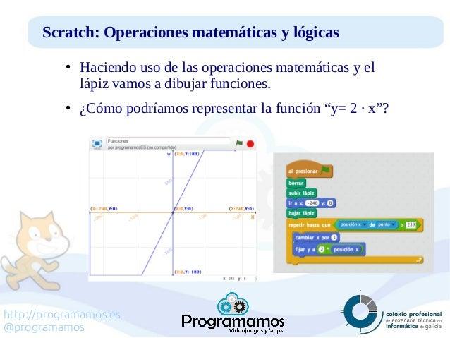 http://programamos.es @programamos Scratch: Operaciones matemáticas y lógicas ● Haciendo uso de las operaciones matemática...