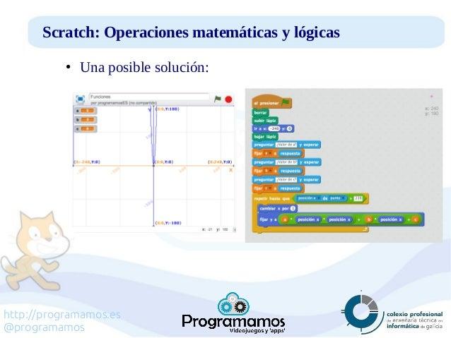 http://programamos.es @programamos Scratch: Operaciones matemáticas y lógicas ● Una posible solución: