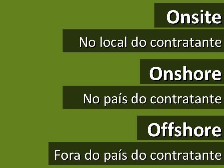 Onsite No local do contratante Onshore No país do contratante Offshore Fora do país do contratante
