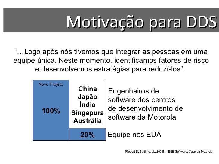 """Motivação para DDS ??? China Japão Índia Singapura Austrália """"… Logo após nós tivemos que integrar as pessoas em uma equip..."""