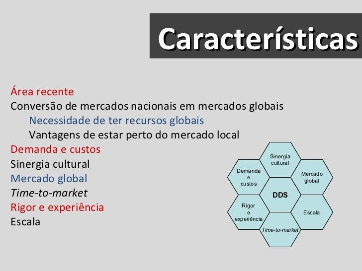 Características <ul><li>Área recente </li></ul><ul><li>Conversão de mercados nacionais em mercados globais </li></ul><ul><...