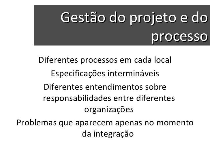 Gestão do projeto e do processo Diferentes processos em cada local Especificações intermináveis Diferentes entendimentos s...