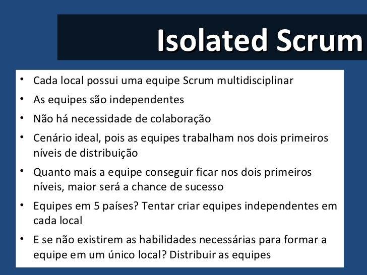 Isolated Scrum <ul><li>Cada local possui uma equipe Scrum multidisciplinar  </li></ul><ul><li>As equipes são independentes...