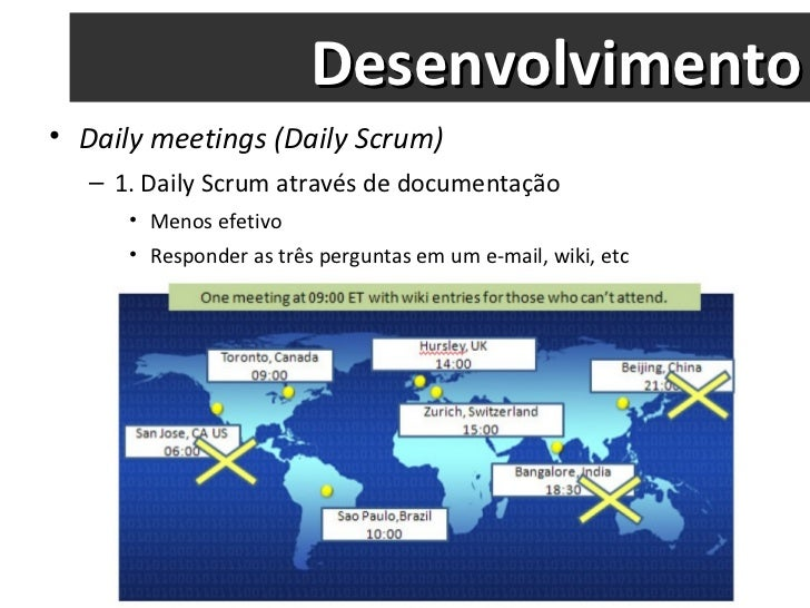 Desenvolvimento <ul><li>Daily meetings (Daily Scrum) </li></ul><ul><ul><li>1. Daily Scrum através de documentação </li></u...