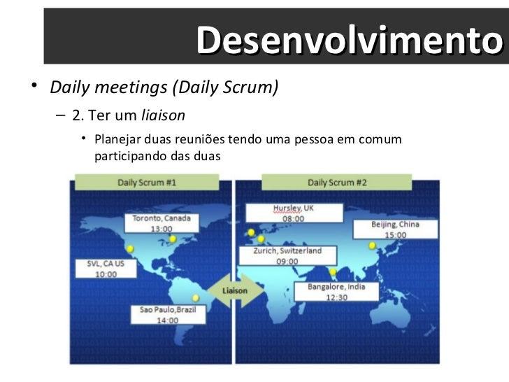 Desenvolvimento <ul><li>Daily meetings (Daily Scrum) </li></ul><ul><ul><li>2. Ter um  liaison </li></ul></ul><ul><ul><ul><...