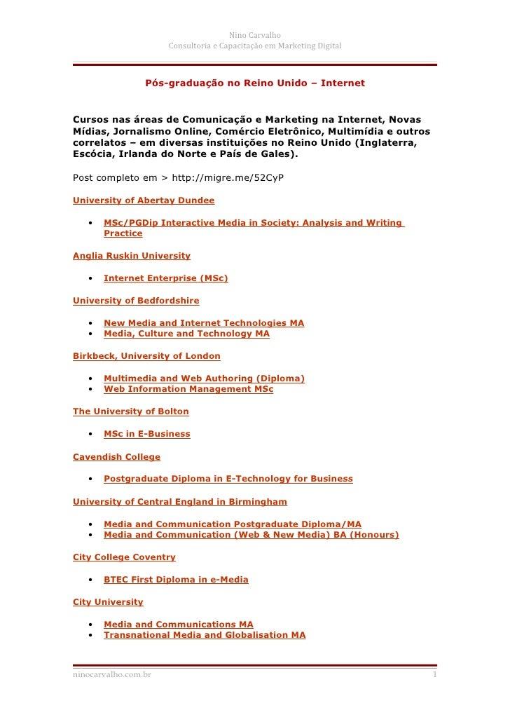 Nino Carvalho                      Consultoria e Capacitação em Marketing Digital                  Pós-graduação no Reino ...