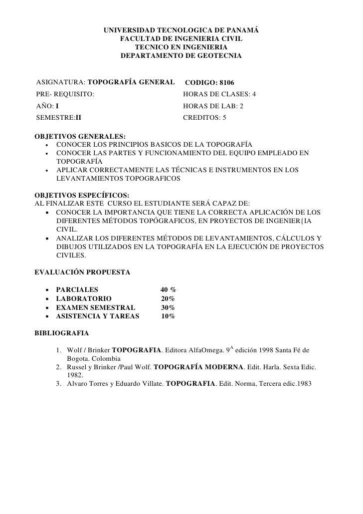 UNIVERSIDAD TECNOLOGICA DE PANAMÁ                         FACULTAD DE INGENIERIA CIVIL                            TECNICO ...