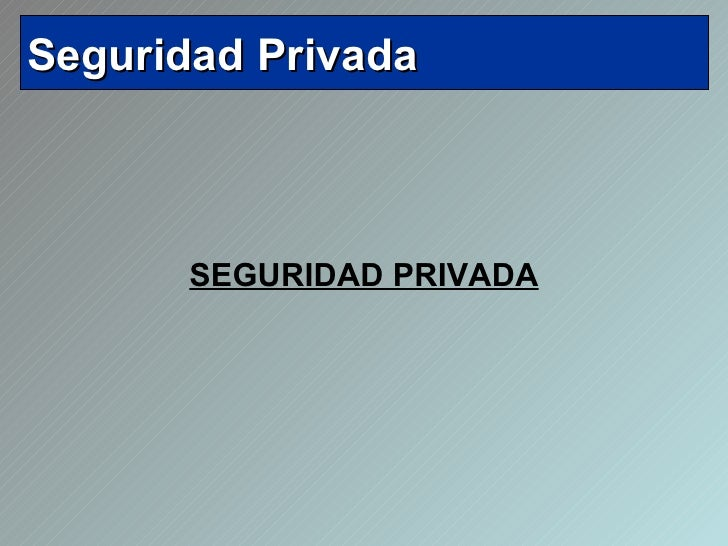 <ul><li>SEGURIDAD PRIVADA </li></ul>