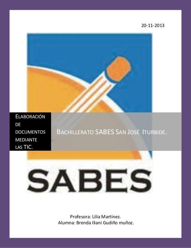 20-11-2013  ELABORACIÓN DE DOCUMENTOS  BACHILLERATO SABES SAN JOSÉ ITURBIDE.  MEDIANTE LAS TIC.  Profesora: Lilia Martínez...