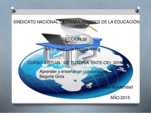 Mtro. José Luis Ramos Uribe SINDICATO NACIONAL DE TRABAJADORES DE LA EDUCACIÓN CURSO VIRTUAL DE TUTORIA SNTE-OEI 2015 Vall...