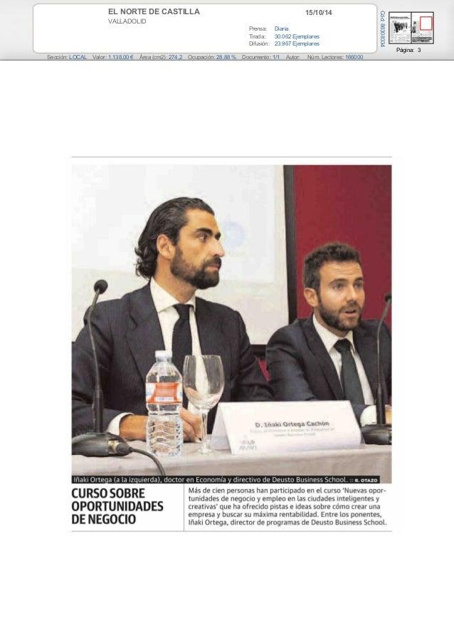 EL NORTE DE CASTILLA 15/10/14  VALLADOLID  Prensa: Diaria  Tirada: 30.062 Ejemplares  Difusión: 23.967 Ejemplares  Página:...
