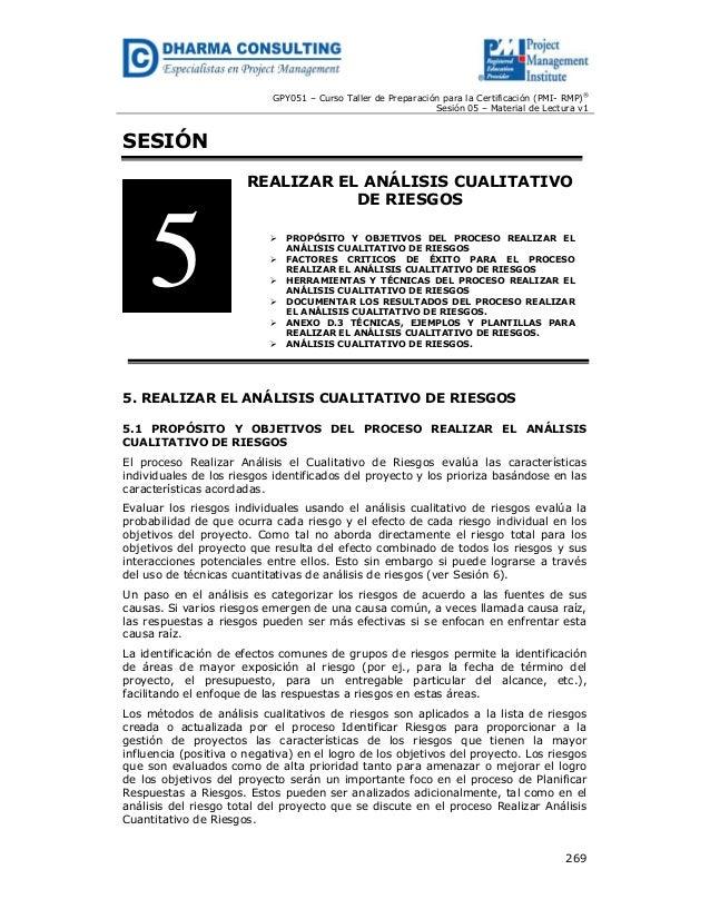 GPY051 – Curso Taller de Preparación para la Certificación (PMI- RMP)® Sesión 05 – Material de Lectura v1  SESIÓN REALIZAR...