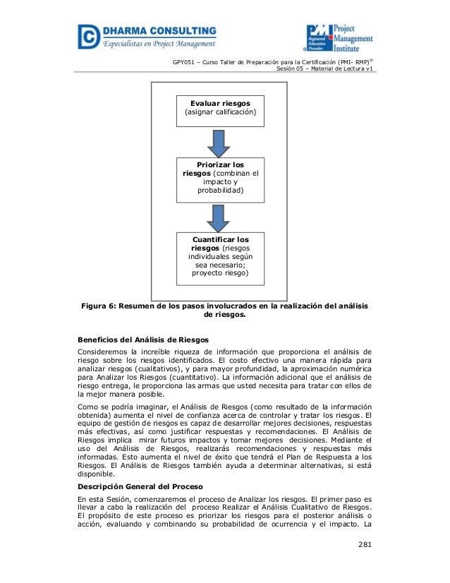 GPY051 – Curso Taller de Preparación para la Certificación (PMI- RMP)® Sesión 05 – Material de Lectura v1  Evaluar riesgos...
