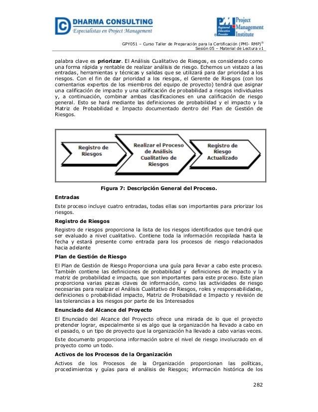 GPY051 – Curso Taller de Preparación para la Certificación (PMI- RMP)® Sesión 05 – Material de Lectura v1  palabra clave e...