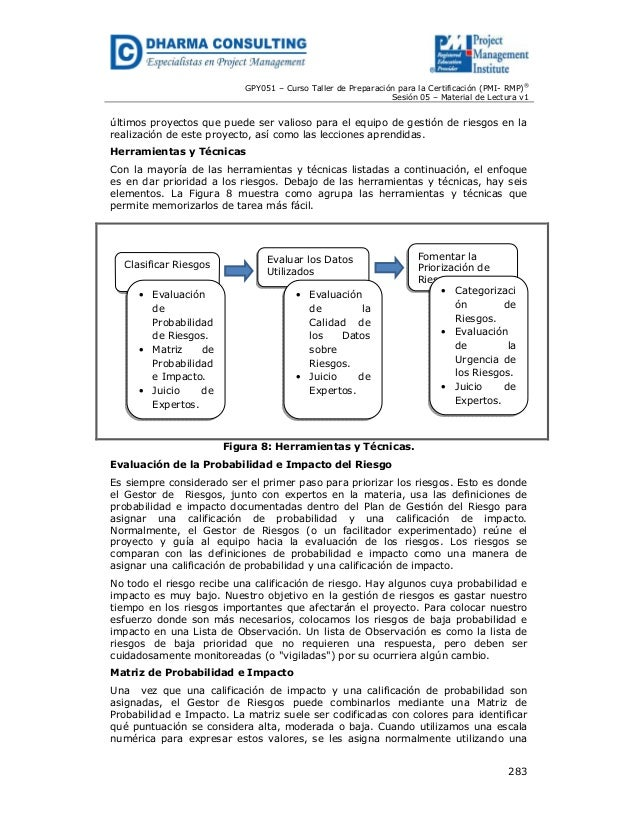 GPY051 – Curso Taller de Preparación para la Certificación (PMI- RMP)® Sesión 05 – Material de Lectura v1  últimos proyect...