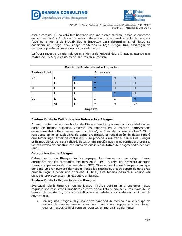 GPY051 – Curso Taller de Preparación para la Certificación (PMI- RMP)® Sesión 05 – Material de Lectura v1  escala cardinal...