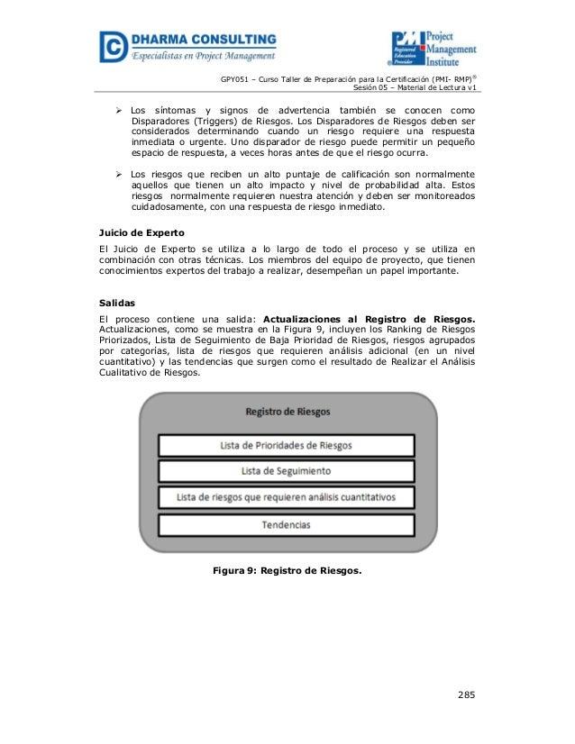 GPY051 – Curso Taller de Preparación para la Certificación (PMI- RMP)® Sesión 05 – Material de Lectura v1  Los síntomas y ...