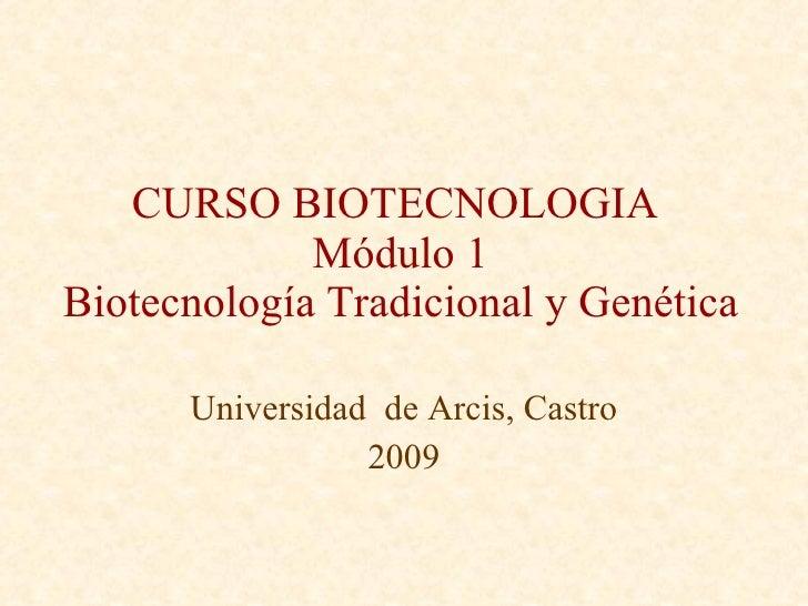 CURSO BIOTECNOLOGIA  Módulo 1 Biotecnología Tradicional y Genética Universidad  de Arcis, Castro 2009
