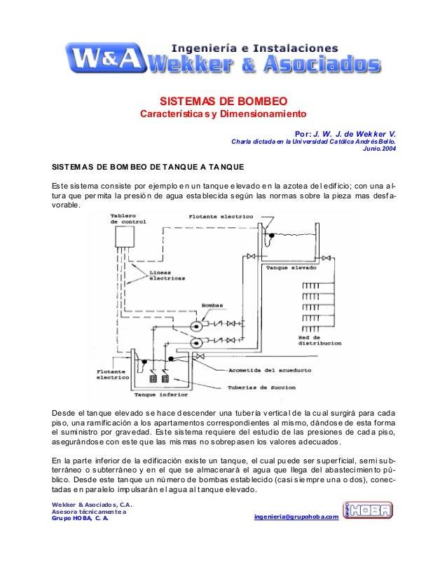 Wekker & Asociados, C.A.Asesora técnicamente aGrupo HOBA, C. A. ingenieria@grupohoba.comSISTEMAS DE BOMBEOCaracterísticas ...
