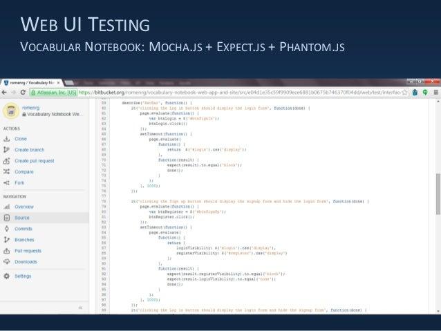 WEB UI TESTING VOCABULAR NOTEBOOK: MOCHA.JS + EXPECT.JS + PHANTOM.JS
