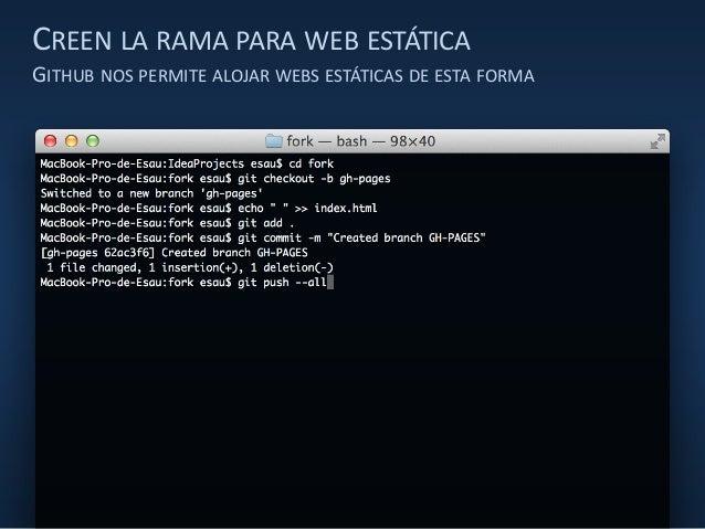 CREEN LA RAMA PARA WEB ESTÁTICA GITHUB NOS PERMITE ALOJAR WEBS ESTÁTICAS DE ESTA FORMA