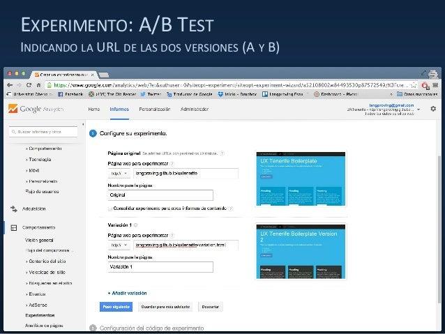 EXPERIMENTO: A/B TEST INDICANDO LA URL DE LAS DOS VERSIONES (A Y B)