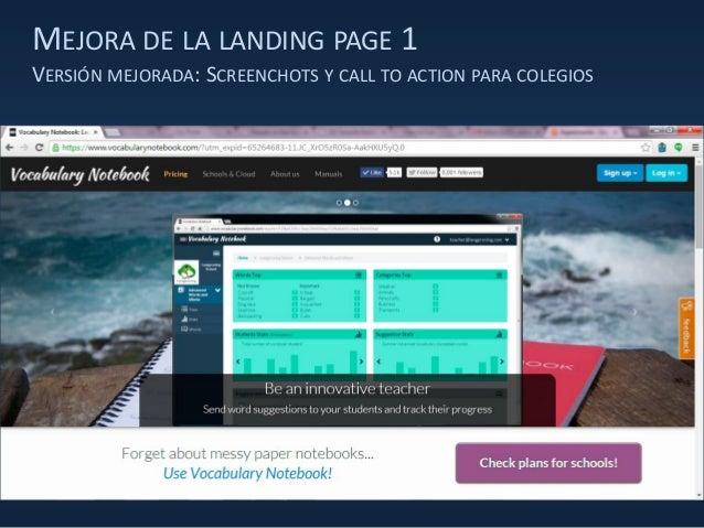 MEJORA DE LA LANDING PAGE 1 VERSIÓN MEJORADA: SCREENCHOTS Y CALL TO ACTION PARA COLEGIOS