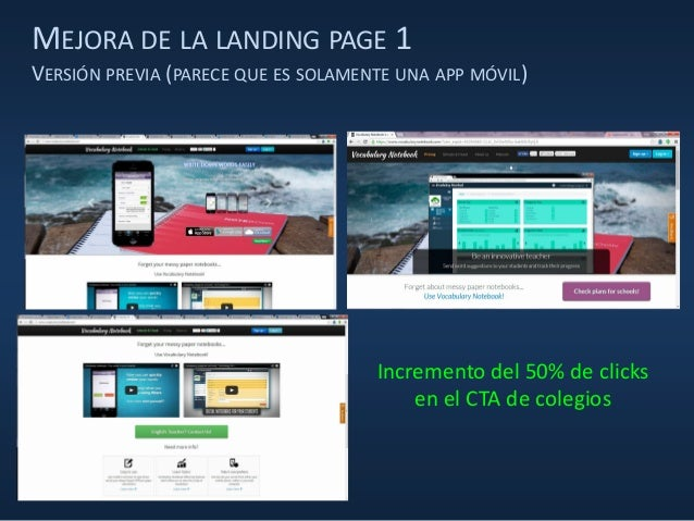 MEJORA DE LA LANDING PAGE 1 VERSIÓN PREVIA (PARECE QUE ES SOLAMENTE UNA APP MÓVIL) Incremento del 50% de clicks en el CTA ...