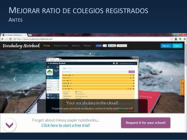 MEJORAR RATIO DE COLEGIOS REGISTRADOS ANTES