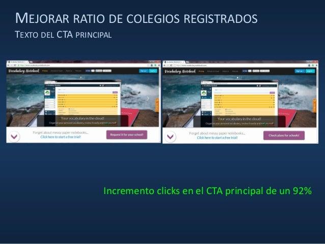 MEJORAR RATIO DE COLEGIOS REGISTRADOS TEXTO DEL CTA PRINCIPAL Incremento clicks en el CTA principal de un 92%