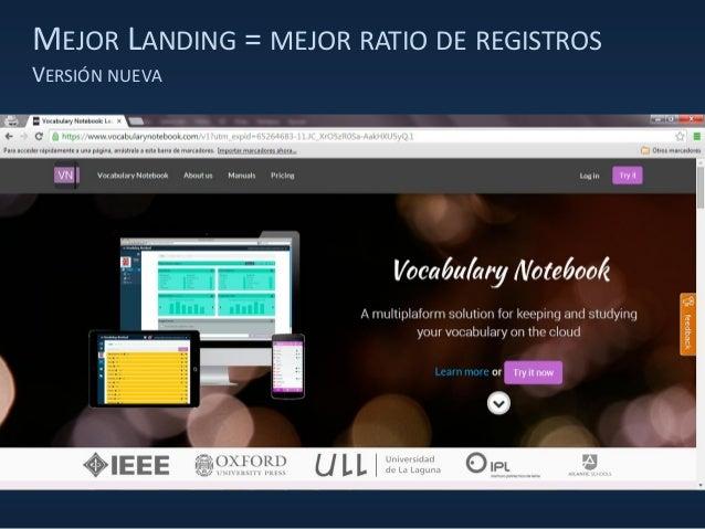 MEJOR LANDING = MEJOR RATIO DE REGISTROS VERSIÓN NUEVA