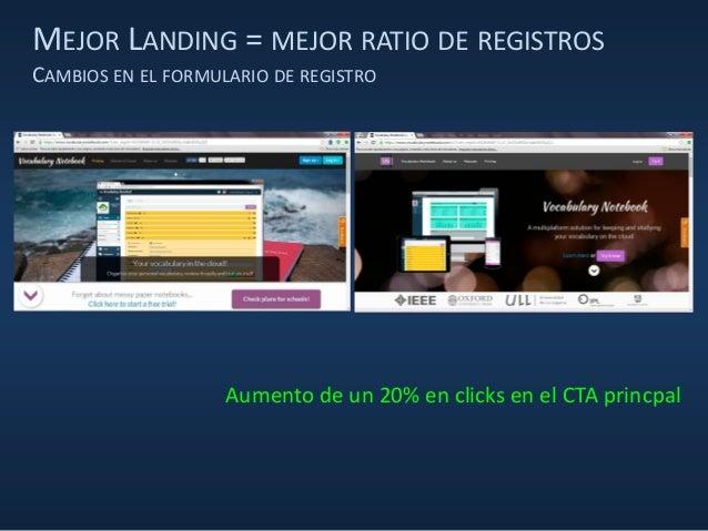 MEJOR LANDING = MEJOR RATIO DE REGISTROS CAMBIOS EN EL FORMULARIO DE REGISTRO Aumento de un 20% en clicks en el CTA princp...