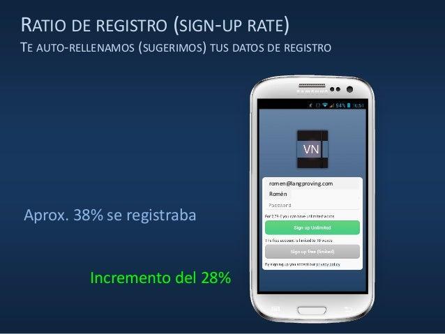 RATIO DE REGISTRO (SIGN-UP RATE) TE AUTO-RELLENAMOS (SUGERIMOS) TUS DATOS DE REGISTRO Aprox. 38% se registraba Romén romen...