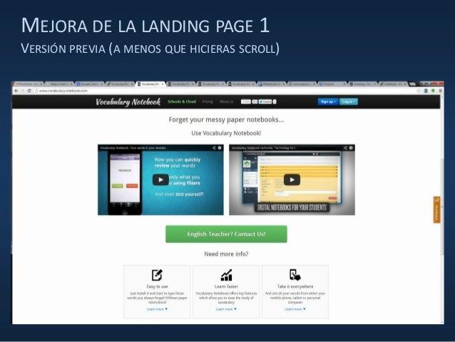 MEJORA DE LA LANDING PAGE 1 VERSIÓN PREVIA (A MENOS QUE HICIERAS SCROLL)