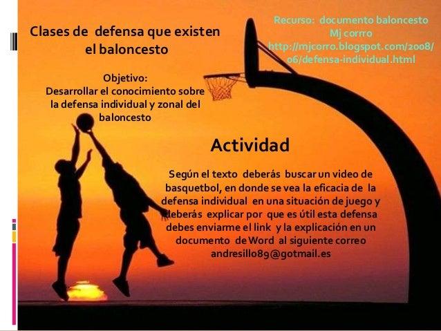 Recurso: documento baloncestoClases de defensa que existen                                Mj corrro         el baloncesto ...