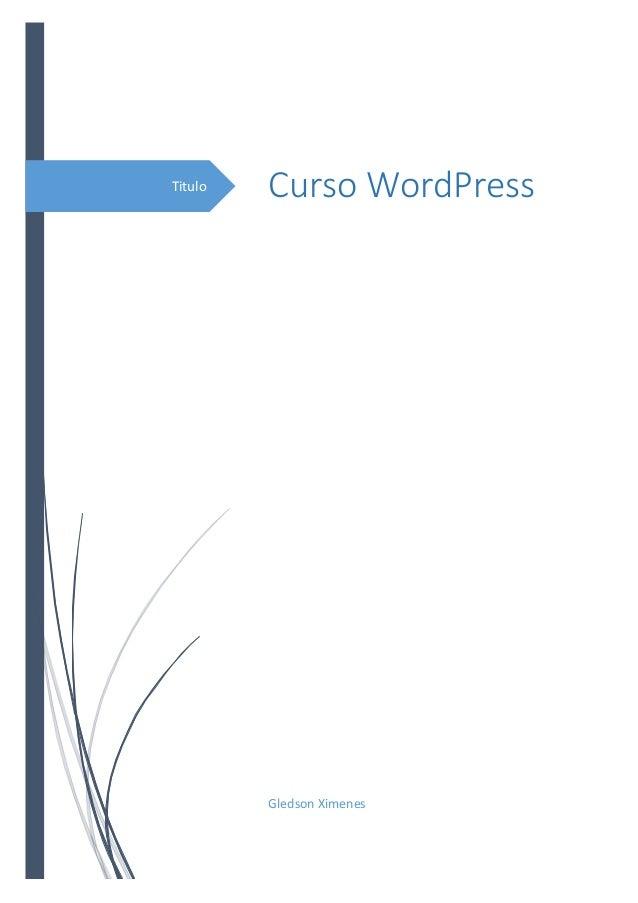 Titulo  Curso WordPress  Gledson Ximenes