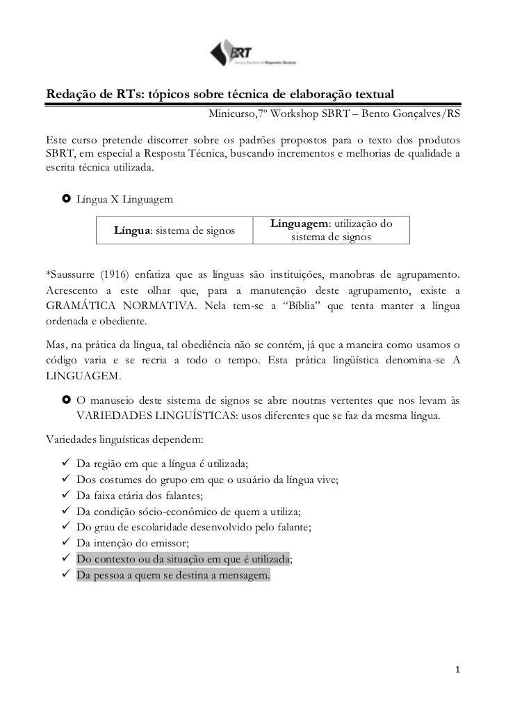 Redação de RTs: tópicos sobre técnica de elaboração textual                                    Minicurso,7º Workshop SBRT ...