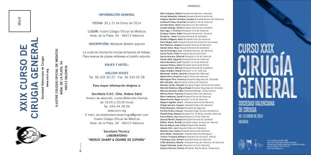 programa curso Sociedad Valenciana de cirugía