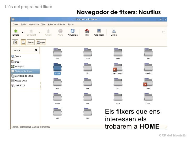 CRP del Montsià L'ús del programari lliure Navegador de fitxers: Nautilus Els fitxers que ens interessen els trobarem a  H...