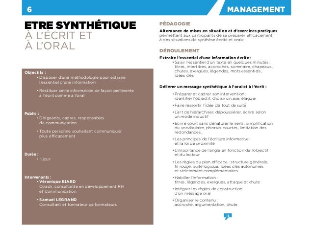 formation etre synthetique