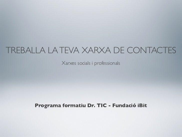 TREBALLA LA TEVA XARXA DE CONTACTES              Xarxes socials i professionals     Programa formatiu Dr. TIC - Fundació i...
