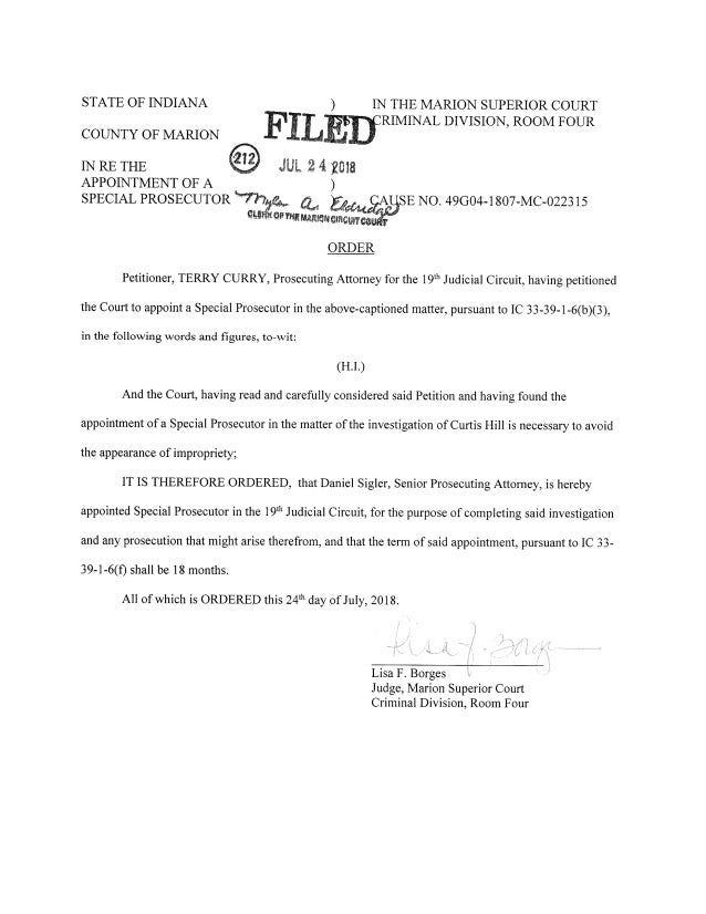 IN THE MARION SUPERIOR COURT RIMINAL DIVISION, ROOM FOUR STATE OF INDIANA ) COUNTY OF MARION IN RE THE APPOINTMENT 0F A SP...