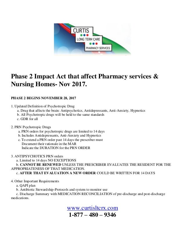 Impact Act that affect pharmacy services and nursing homes article b…