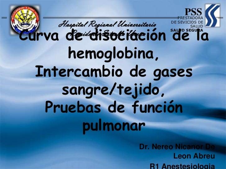 Curva de disociación de la hemoglobina, Intercambio de gases sangre/tejido, Pruebas de función pulmonar<br />PSS<br />PRES...
