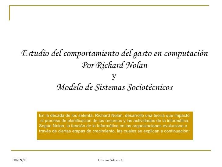 Estudio del comportamiento del gasto en computación Por Richard Nolan y  Modelo de Sistemas Sociotécnicos En la década de ...