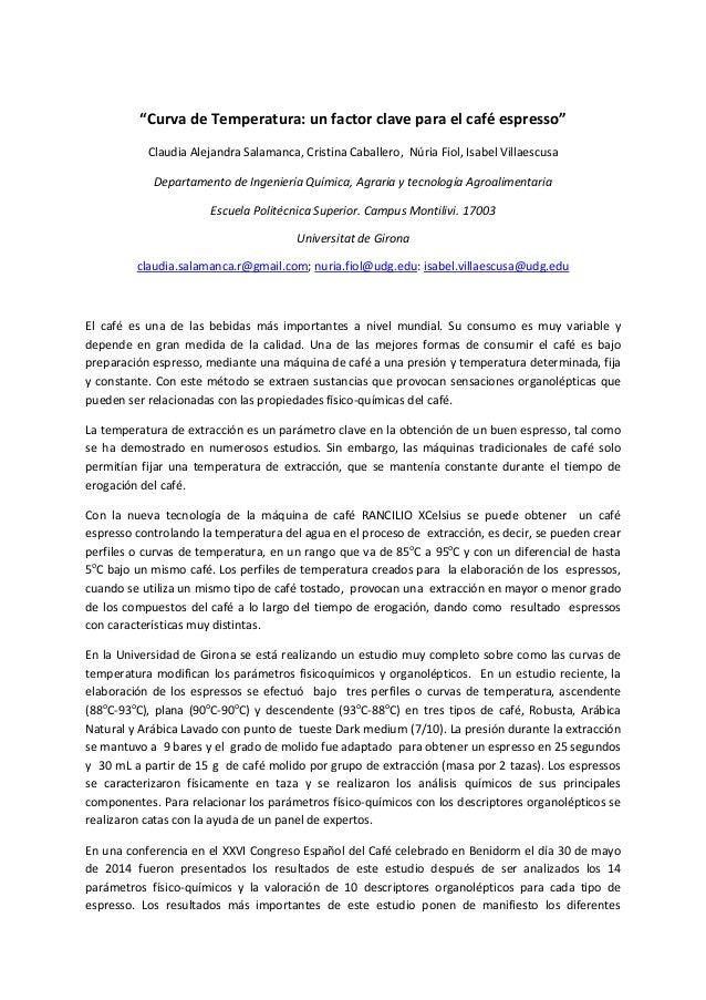 """""""CurvadeTemperatura:unfactorclaveparaelcaféespresso"""" ClaudiaAlejandraSalamanca,CristinaCaballero,NúriaF..."""
