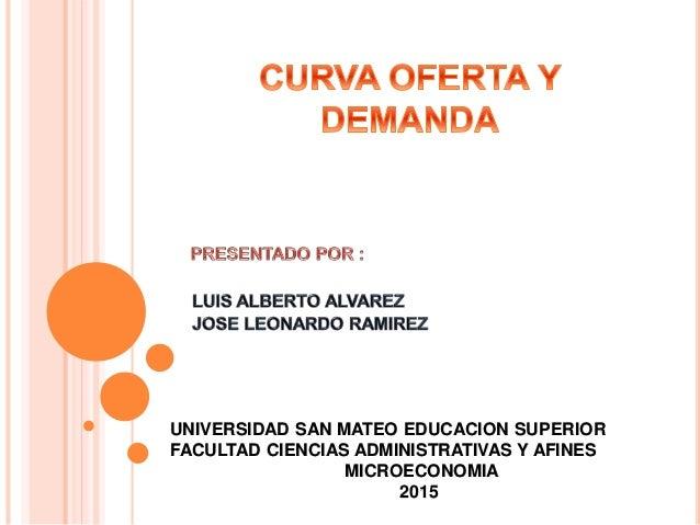 UNIVERSIDAD SAN MATEO EDUCACION SUPERIOR FACULTAD CIENCIAS ADMINISTRATIVAS Y AFINES MICROECONOMIA 2015