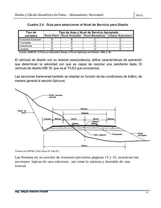 DiseñoyCálculoGeométricodeViales-AlineamientoHorizontal  Ing. Sergio Navarro Hudiel 9 El vehículo de diseño c...